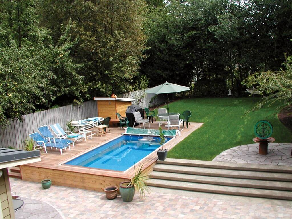 Performance Endless Pool installed partially in-ground with raised decking