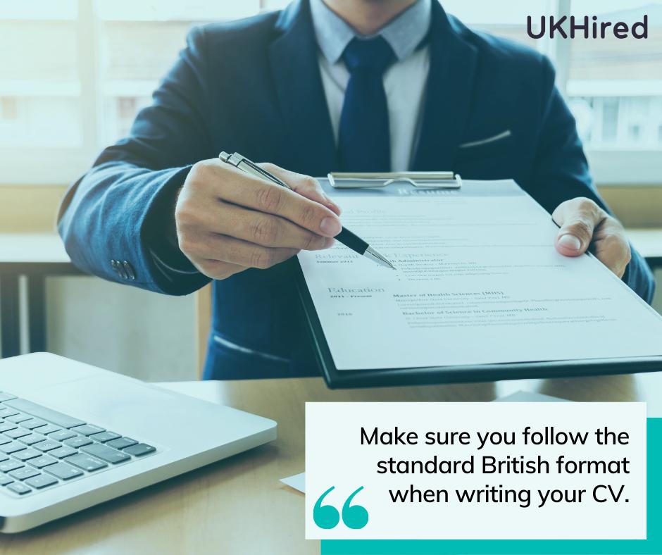 Follow the British CV standard