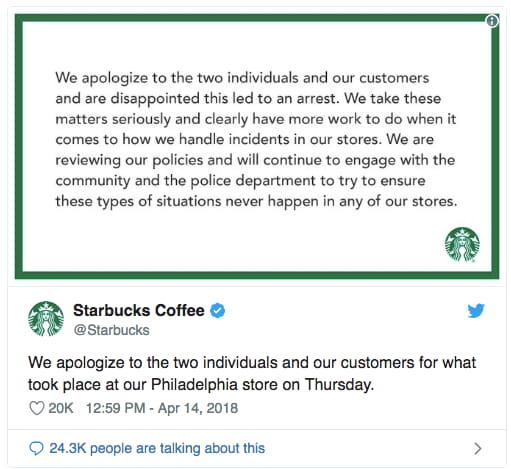 starbucks apology tweet - crisis management plan
