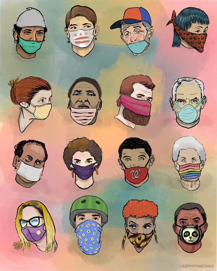masked people illustration
