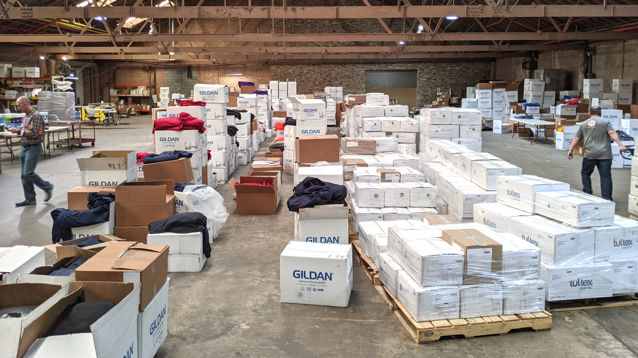 Thousands of t-shirts waiting to be screen printed.