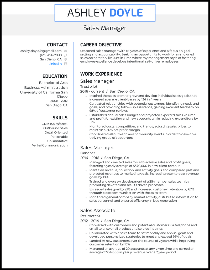 Sales manager resume with 7 years of experience