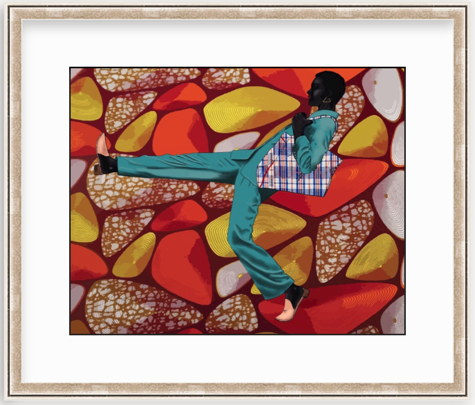 colorful collage art print in silver frame