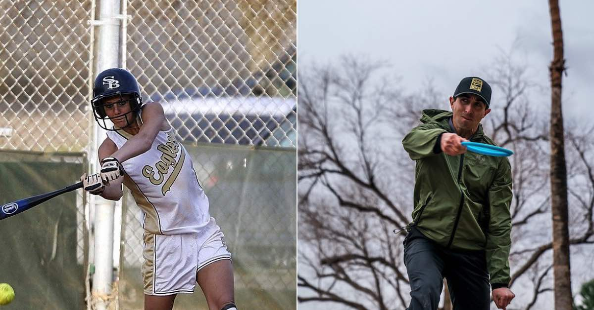Two images. Left: softball player in the middle of a swing. Right: Disc golfer in the middle of a throw