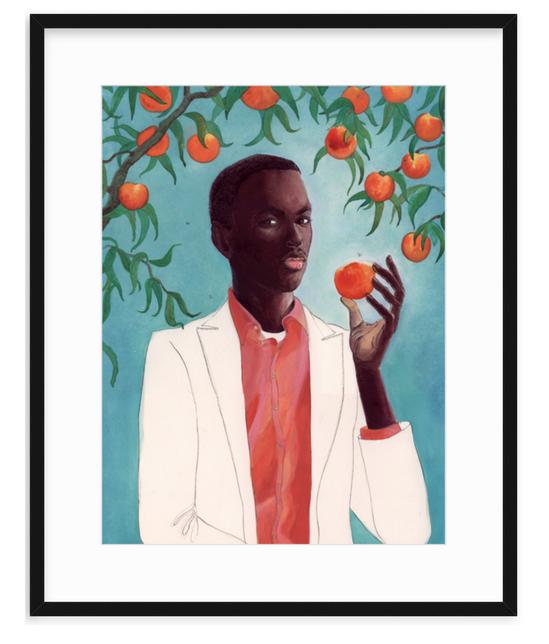 man with peach