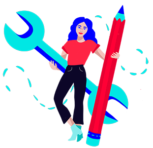 A woman casually holding an oversized wrench and pencil.