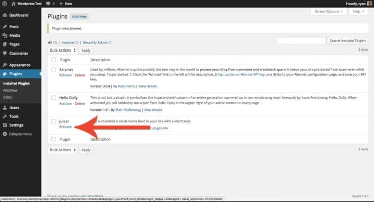 Activate your social media WordPress plugins]