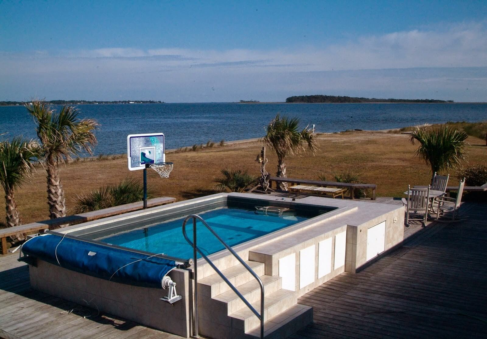 a partially in-ground Endless Pool on the North Carolina shore