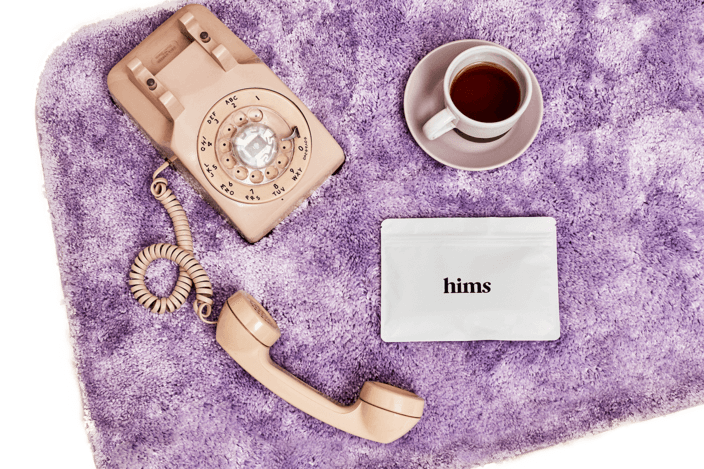 hims telemedicine phone and coffee