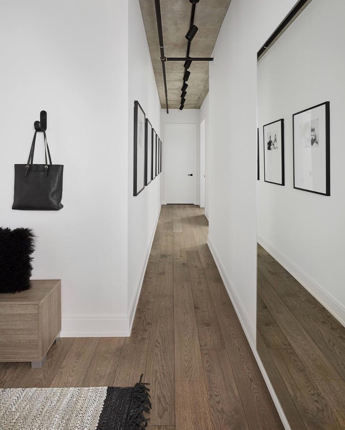 Hallway with Black Frames