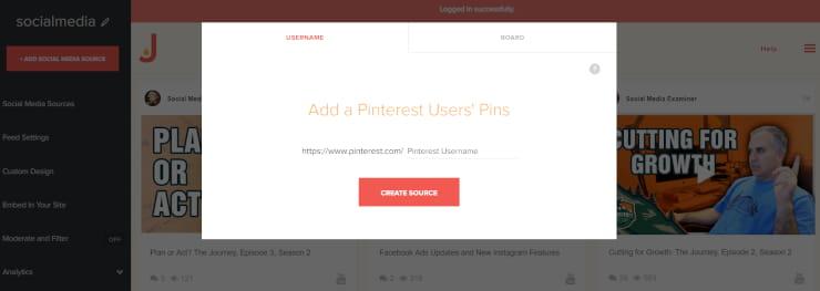 Pinterest social media feed by Juicer