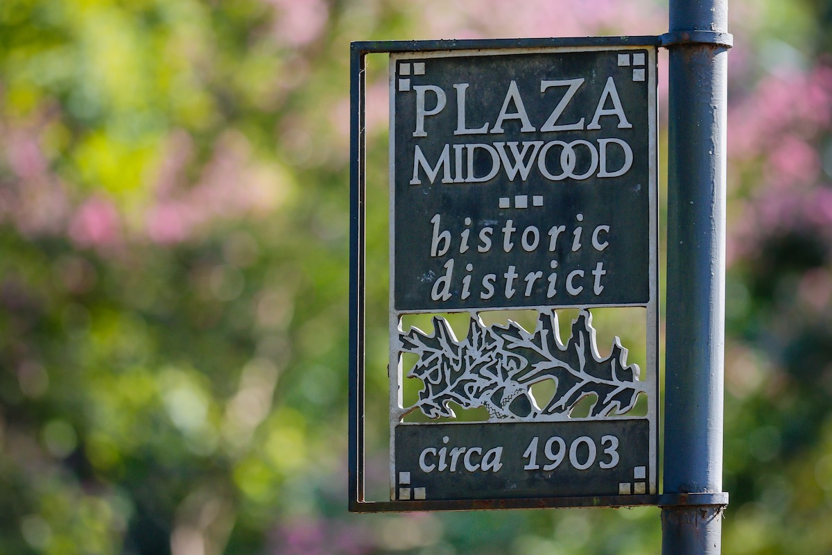 A sign announces the Plaza Midwood historical district in Charlotte
