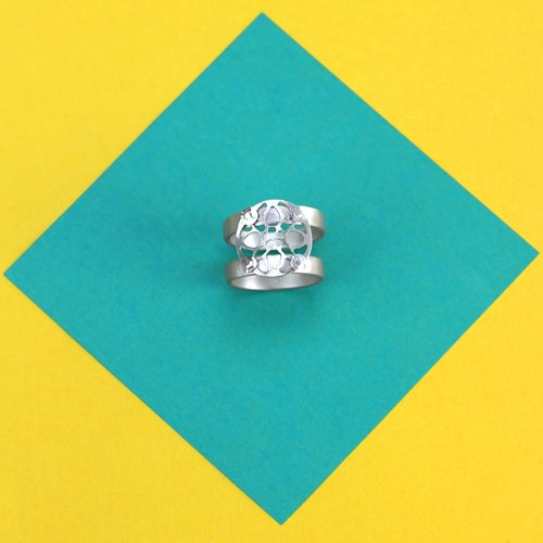 Riveted sterling silver quad ring