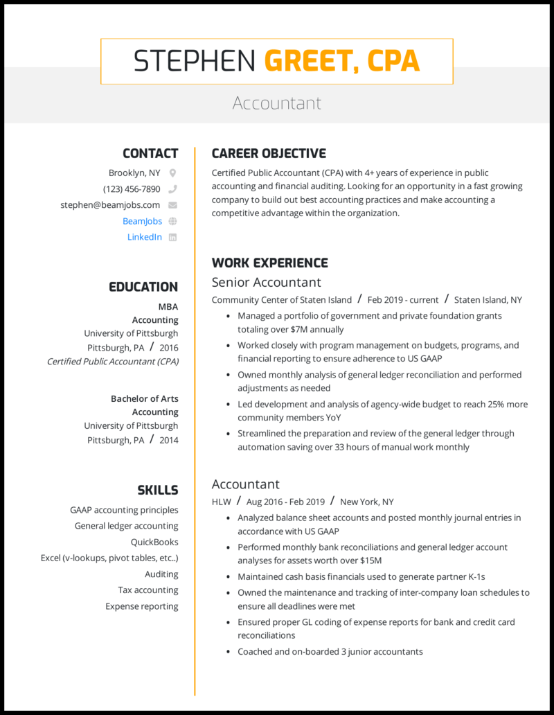 Resume with public accounting experience essays on the columbian exchange