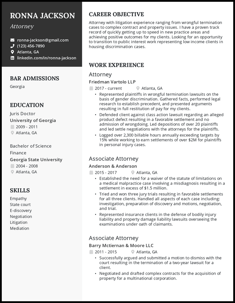 Attorney resume with 10+ years of experience