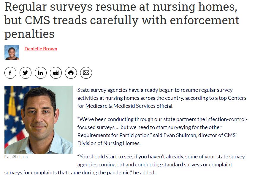 cms-nursing home surveys resume - compliance enforcement for covid-19 infection control - prevention