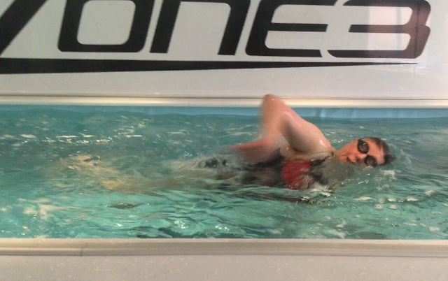 Retiree Christine learning to swim in the Endless Pool at Passion Fit