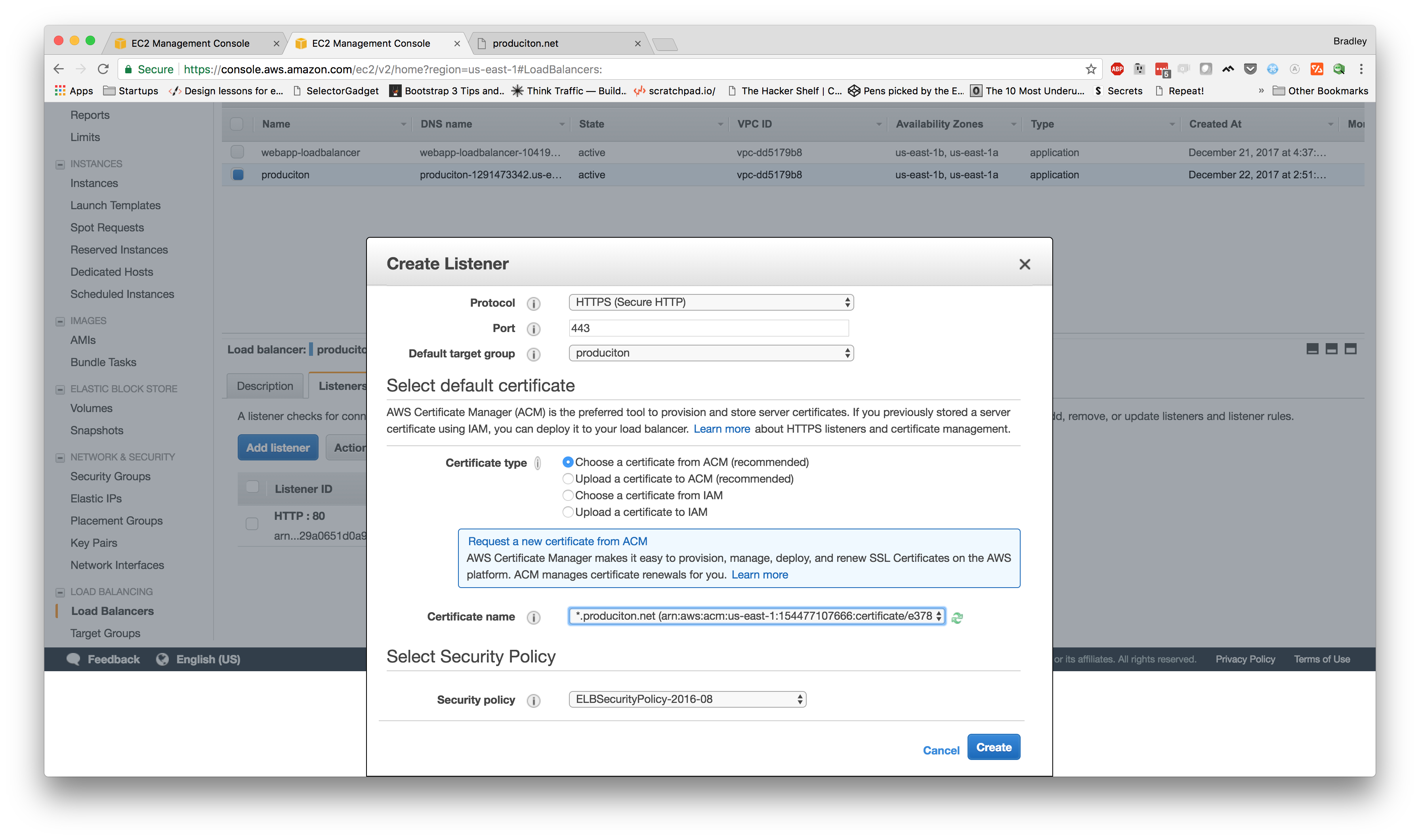Deploying to AWS Part V: the final punch list (load balancer