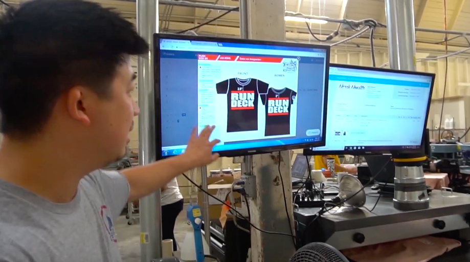 Mike shows how televisions can make production easier with Printavo.
