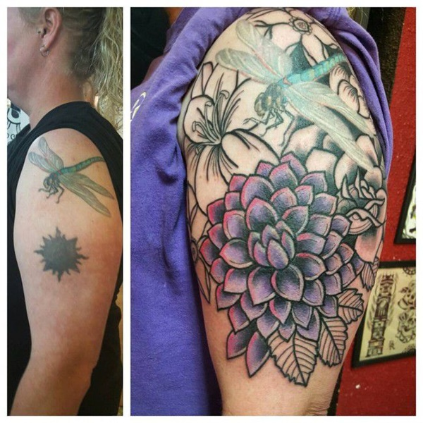 tattoo cover up dragonfly floral theme