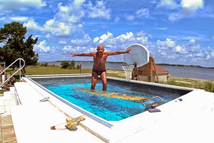 Swim coach Ray Scharf having fun in his Endless Pool