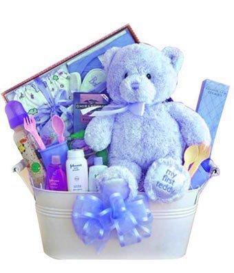 Blue Teddy Bear Gift Basket