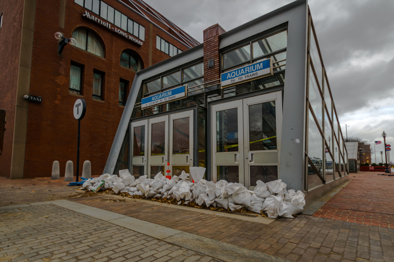 Sandbags as a flood defense in Boston