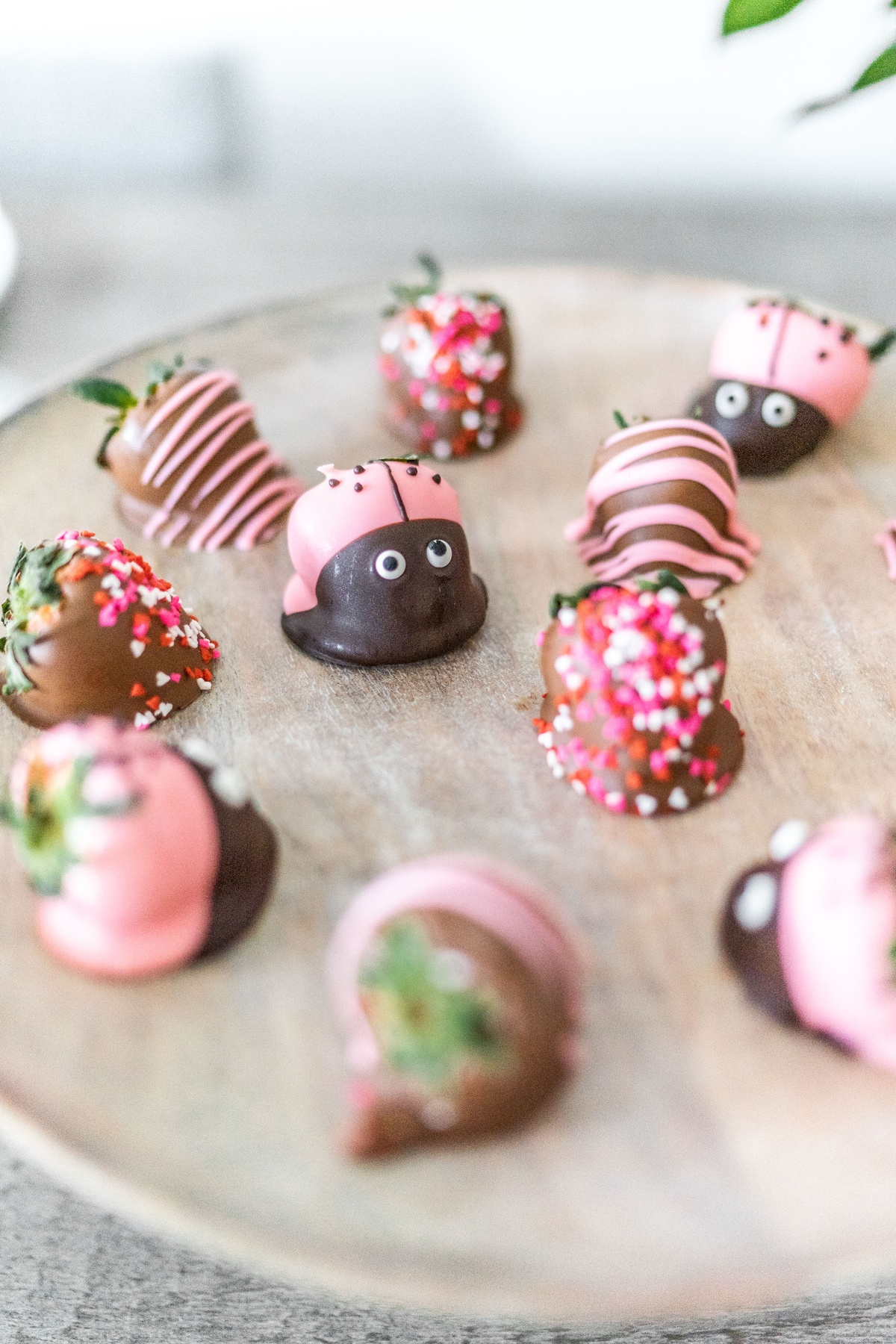 Chocolate Covered Strawberries with Pink and Red Sprinkles