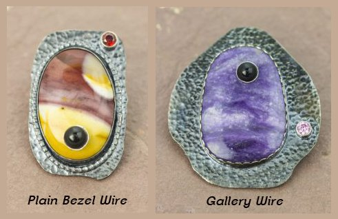 Cabochons set in bezel wire and gallery wire