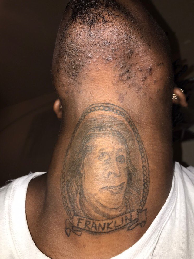 Franklin tattoo in neck