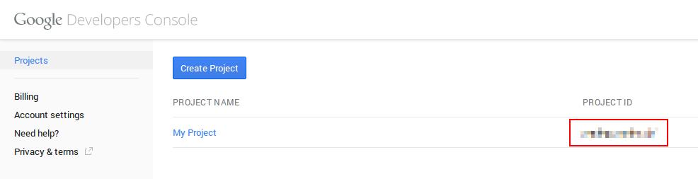 Google BigQuery project ID