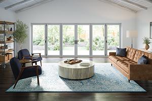Interior view of white bi-fold fiberglass door