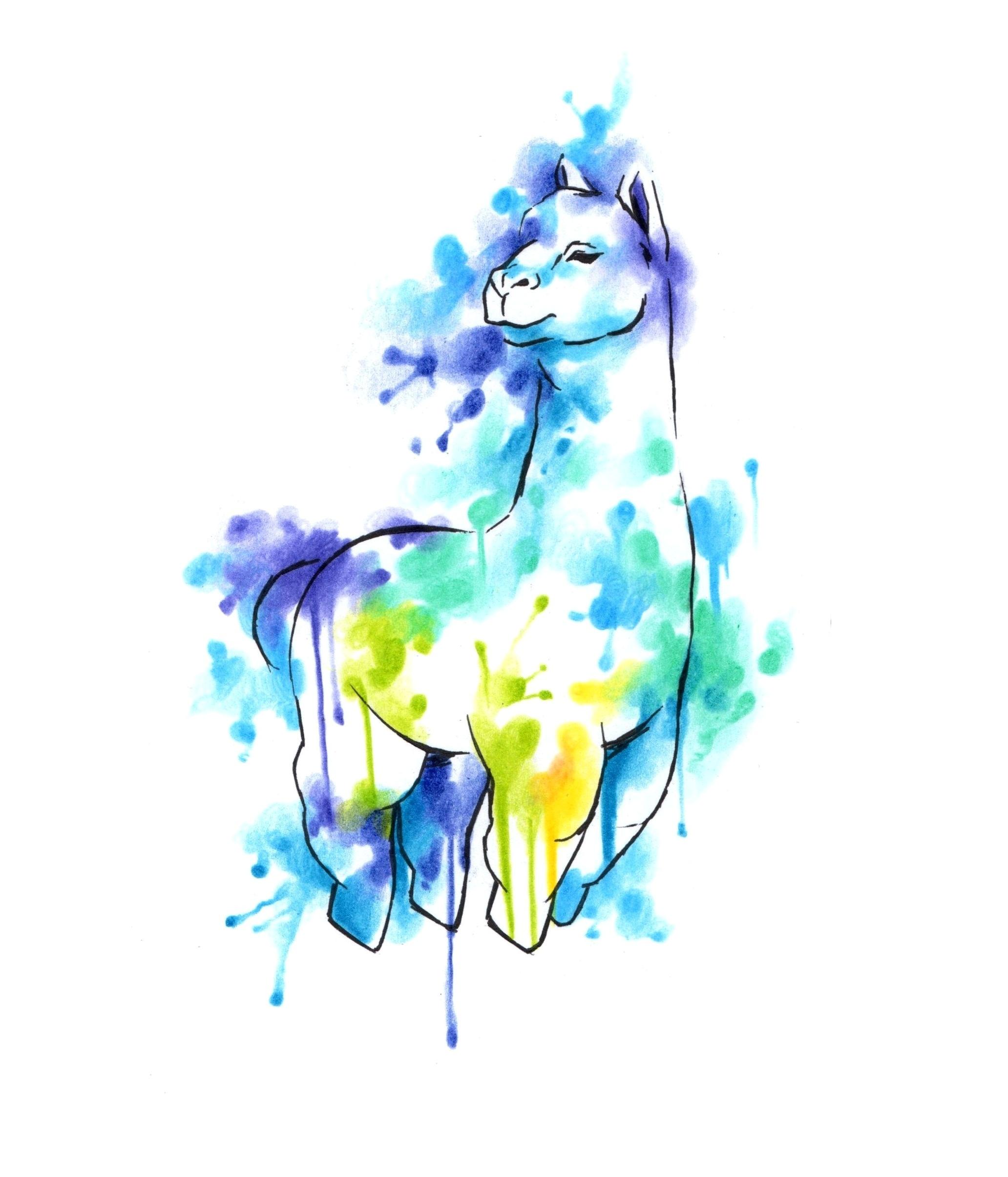 watercolor alpaca