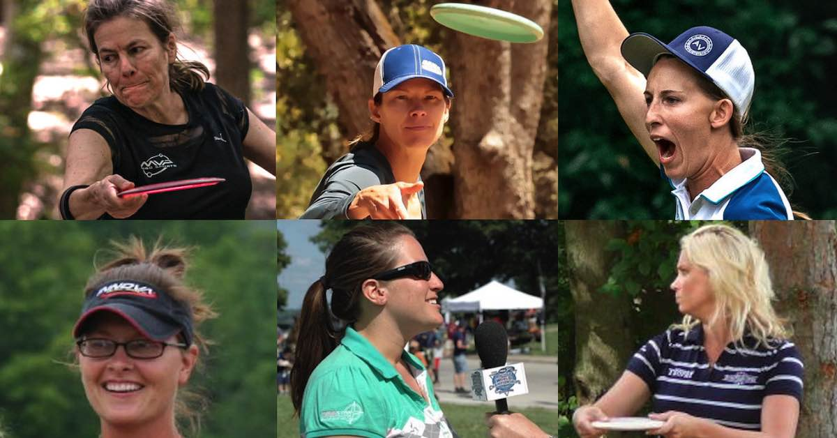 Collage of professional women disc golfers who've won world championships