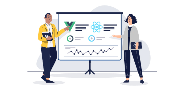 Illustration: Two people presenting a chart with React and Vue logos