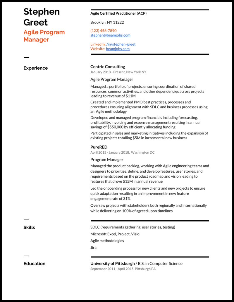 5 Program Manager Resume Samples For 2020