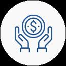 Ícone com o desenho de duas mão em volta a uma moeda com o cifrão representado ao centro