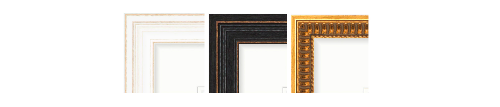 picture frames in white, black and gold