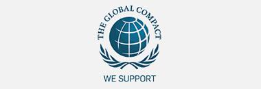 """Ilustração com o ícone de um universo com os dizeres ao redor: """"The global compact. We support""""o"""