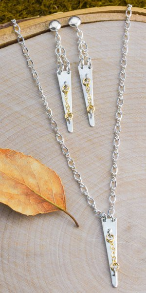 Spake blank drop necklace and earrings