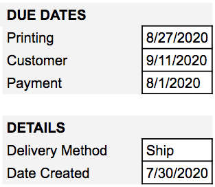 Due date fields for a screen printing quote.