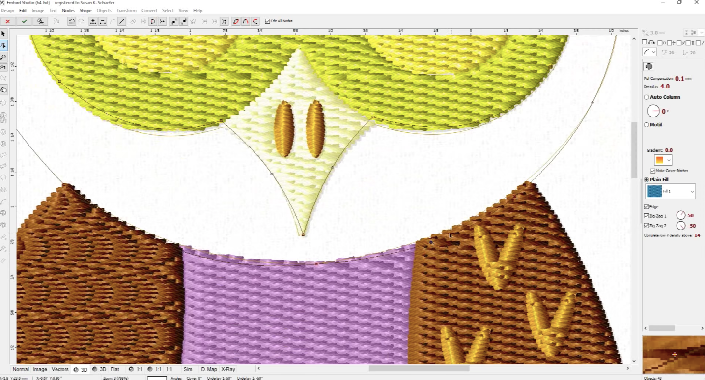 Digitizing an image in Embird embroidery software.