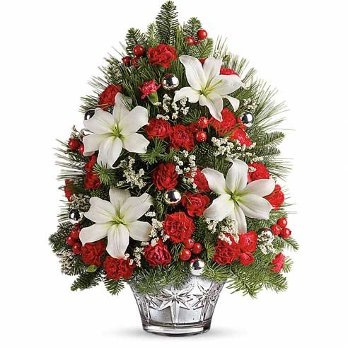 White lily red berry mini live Christmas tree deliveries