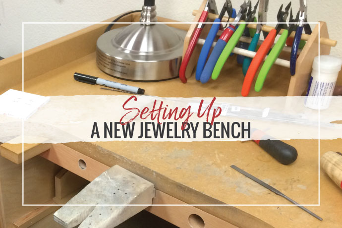 Read top tips on how to set up a jewelers bench in your home or studio. Learn what tools are most essential plus advice on organizing your supplies.