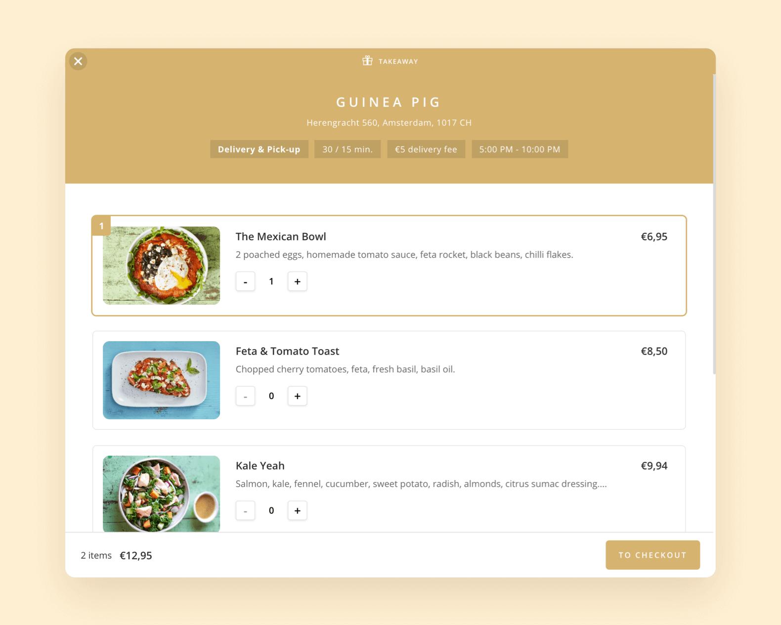 Stel je eigen menu samen met beschrijving en afbeeldingen