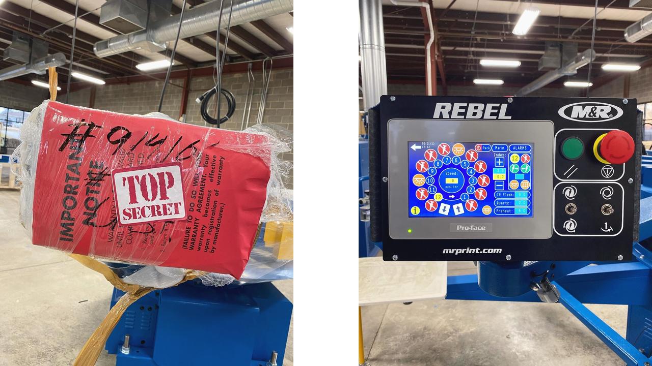 SHIRT KONG's M&R Rebel screen printing press