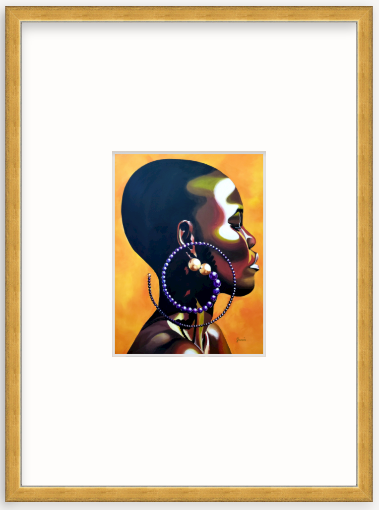 colorful art portrait of woman in gold frame