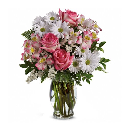 hot pink roses and white daisies bouquet in glass vase