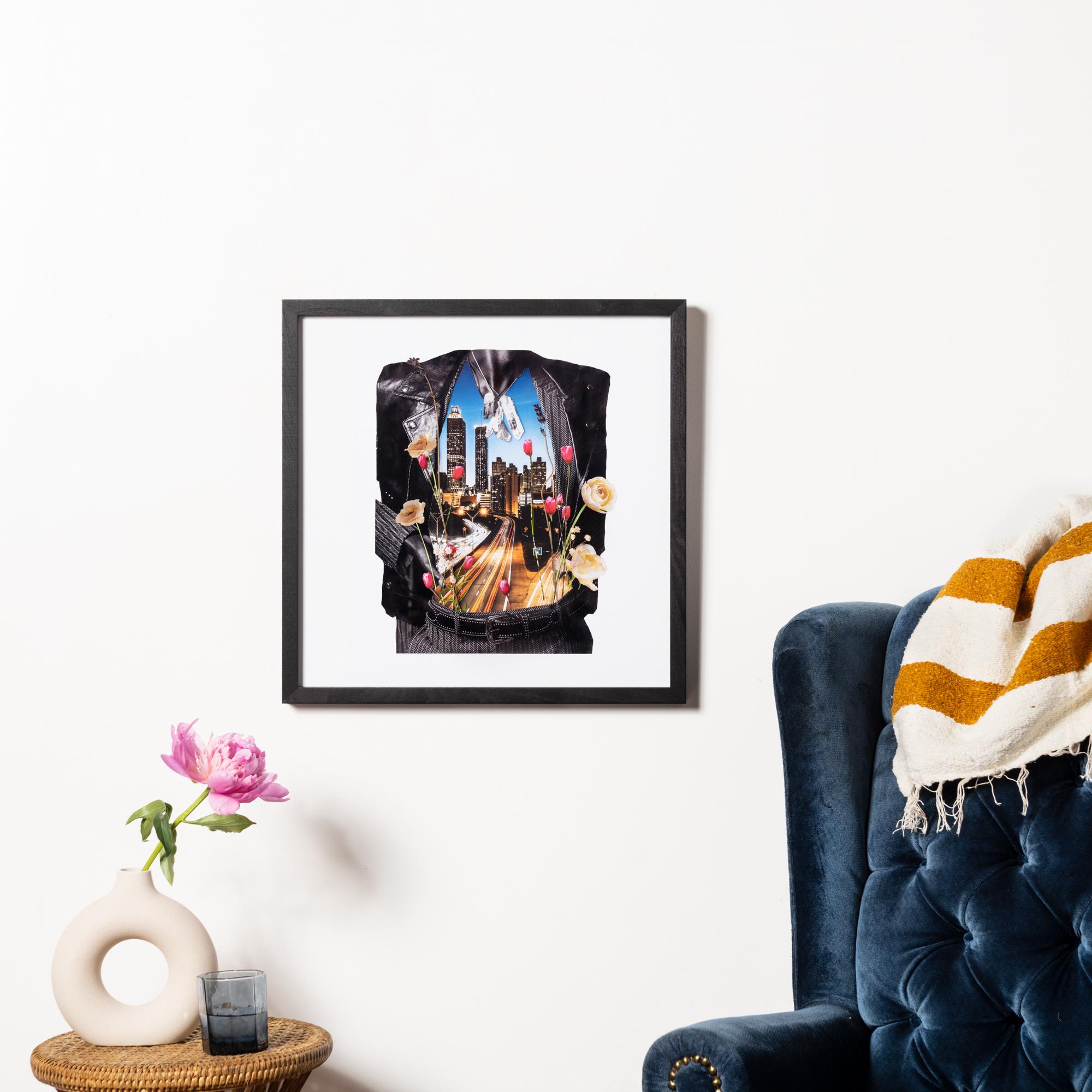 Framebridge Black Artists Print Shop Marryam Moma The Road Home framed print black walnut gallery frame