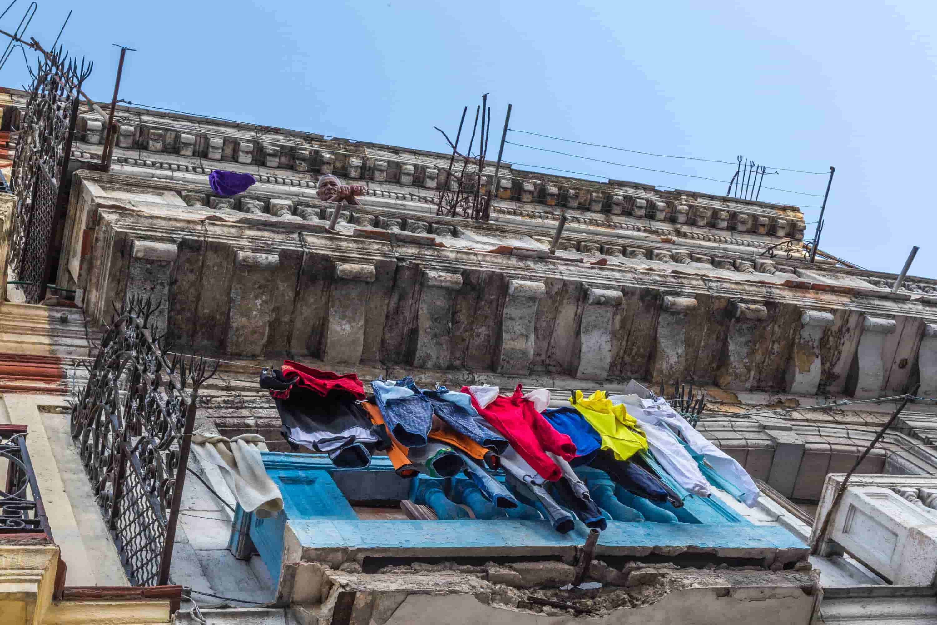 clothes hanging over local cuba house
